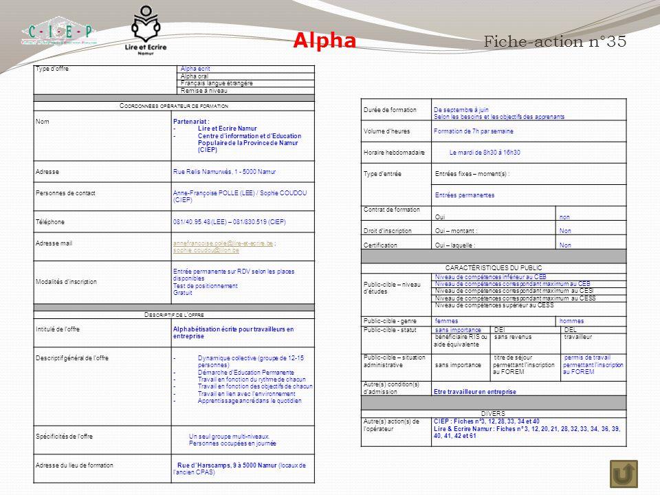 Alpha Fiche-action n°35 Type d'offre Alpha écrit Alpha oral