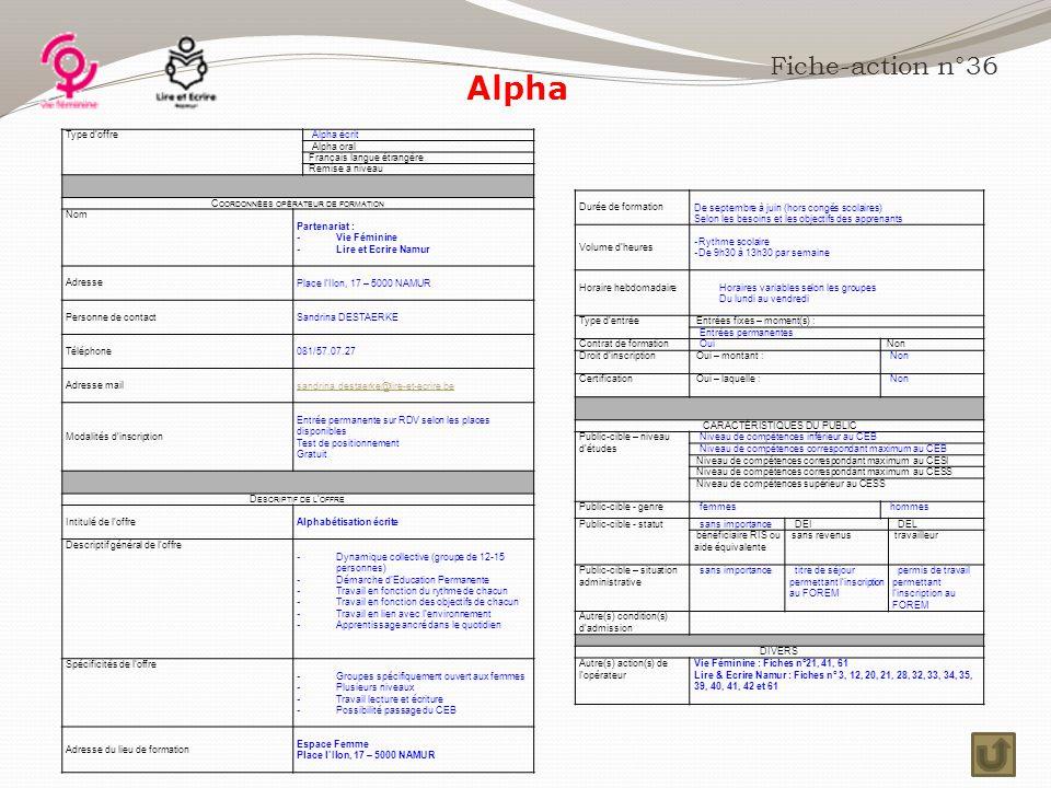 Alpha Fiche-action n°36 Type d'offre Alpha écrit Alpha oral