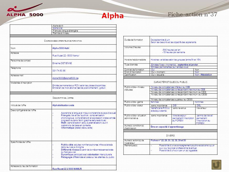 Alpha Fiche-action n°37 Alpha écrit Alpha oral