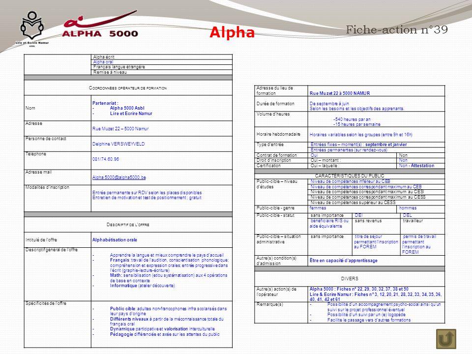 Alpha Fiche-action n°39 Alpha écrit Alpha oral