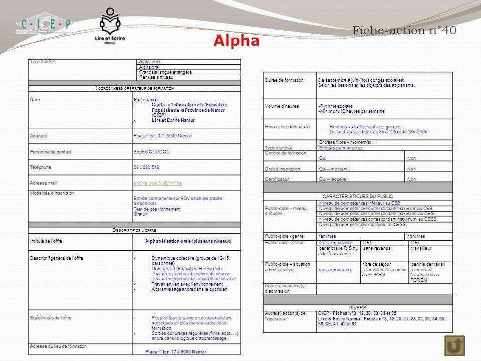 Alpha Fiche-action n°40 Type d'offre Alpha écrit Alpha oral