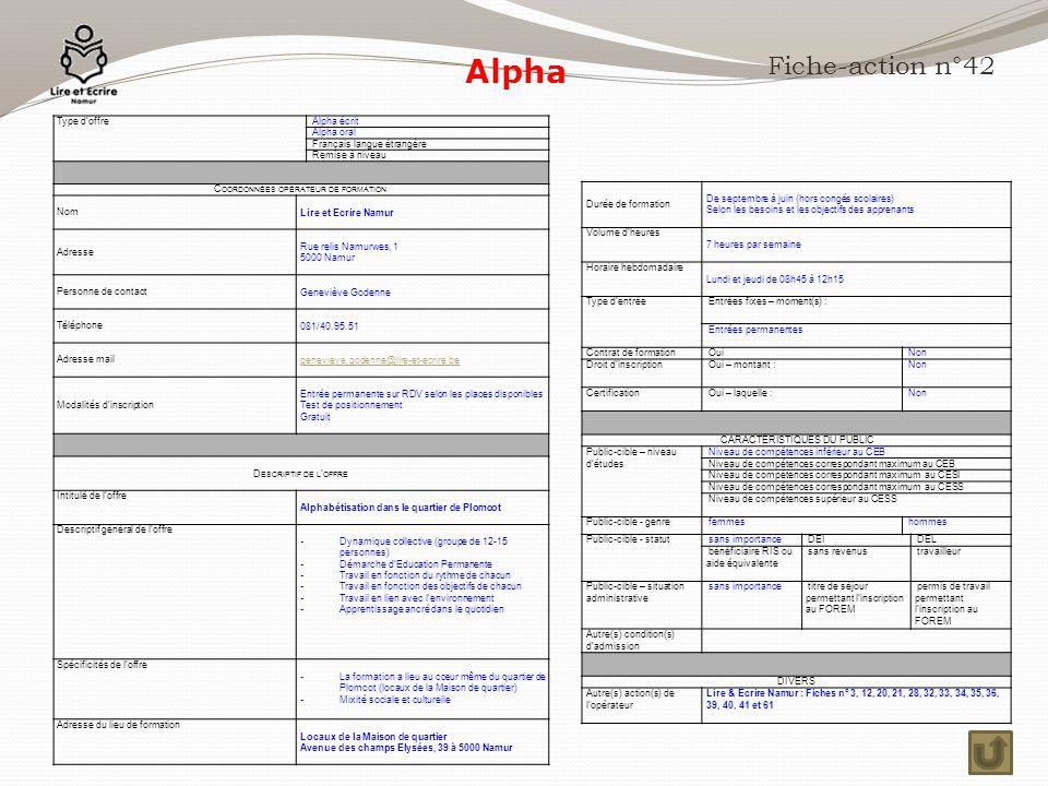 Alpha Fiche-action n°42 Type d'offre Alpha écrit Alpha oral