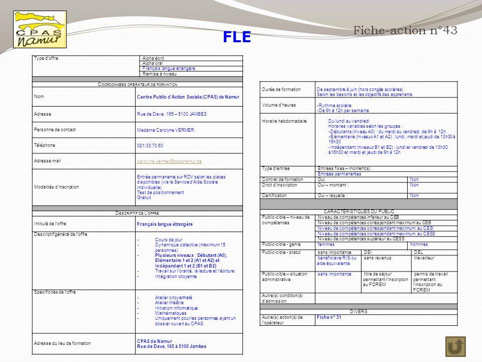 FLE Fiche-action n°43 Type d'offre Alpha écrit Alpha oral