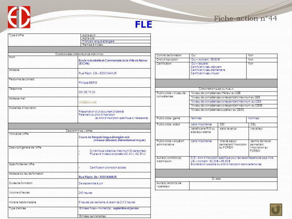 FLE Fiche-action n°44 Type d'offre Alpha écrit Alpha oral