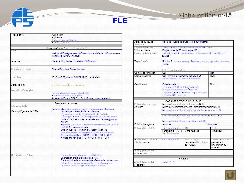 FLE Fiche-action n°45 Type d'offre Alpha écrit Alpha oral