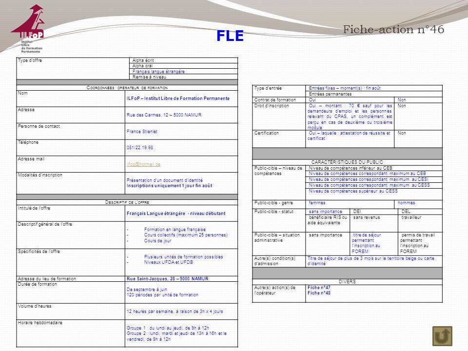 FLE Fiche-action n°46 Type d'offre Alpha écrit Alpha oral