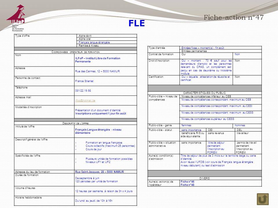FLE Fiche-action n°47 Type d'offre Alpha écrit Alpha oral