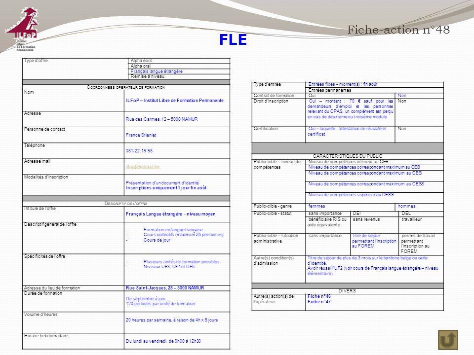 FLE Fiche-action n°48 Type d'offre Alpha écrit Alpha oral