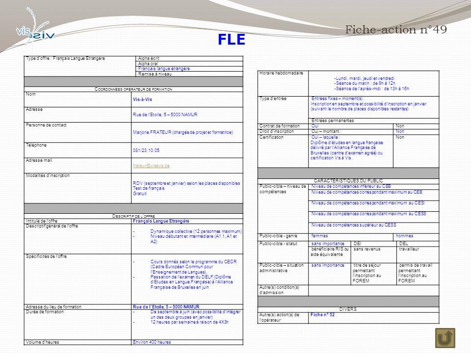 FLE Fiche-action n°49 Type d'offre : Français Langue Etrangère