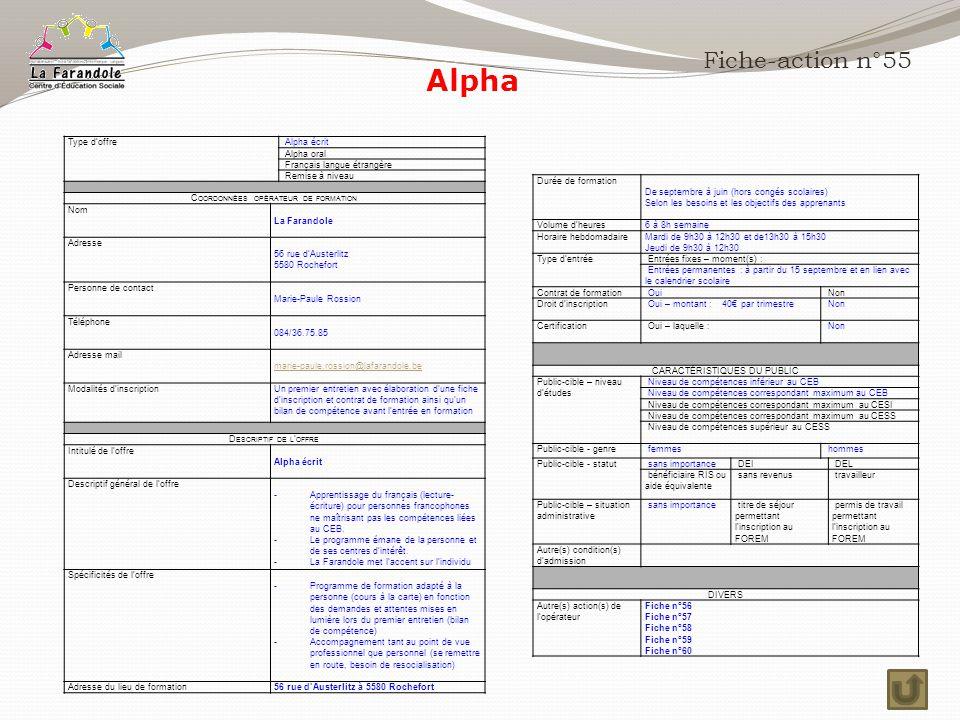 Alpha Fiche-action n°55 Type d'offre Alpha écrit Alpha oral