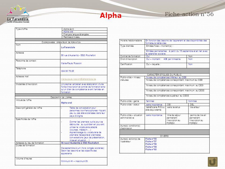 Alpha Fiche-action n°56 Type d'offre Alpha écrit Alpha oral