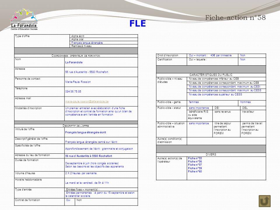 FLE Fiche-action n°58 Type d'offre Alpha écrit Alpha oral