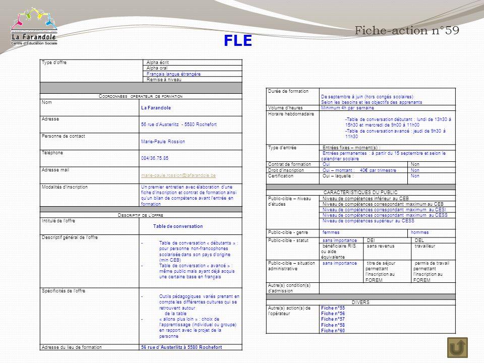 FLE Fiche-action n°59 Type d'offre Alpha écrit Alpha oral