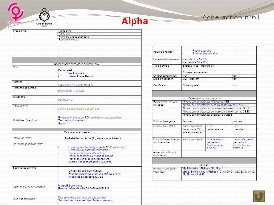 Alpha Fiche-action n°61 Type d'offre Alpha écrit Alpha oral