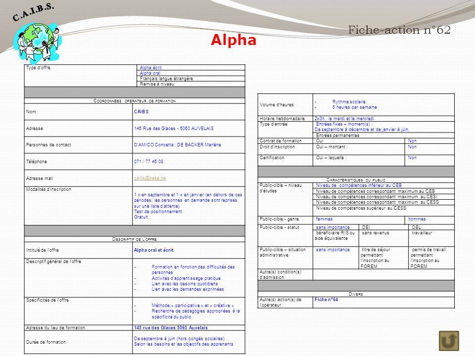 Alpha Fiche-action n°62 Type d'offre Alpha écrit Alpha oral