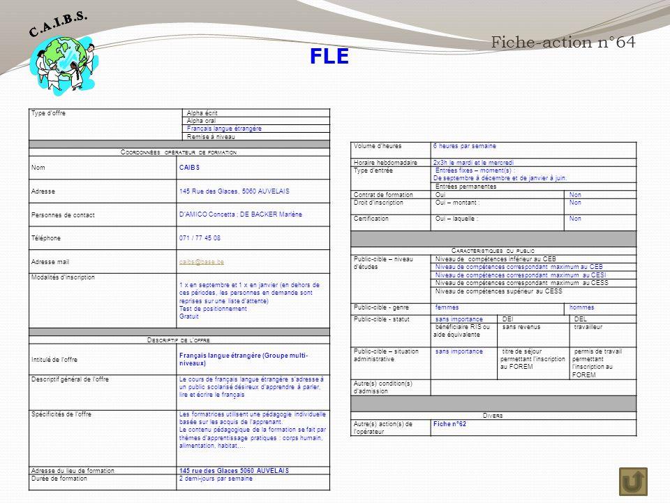 FLE Fiche-action n°64 Type d'offre Alpha écrit Alpha oral