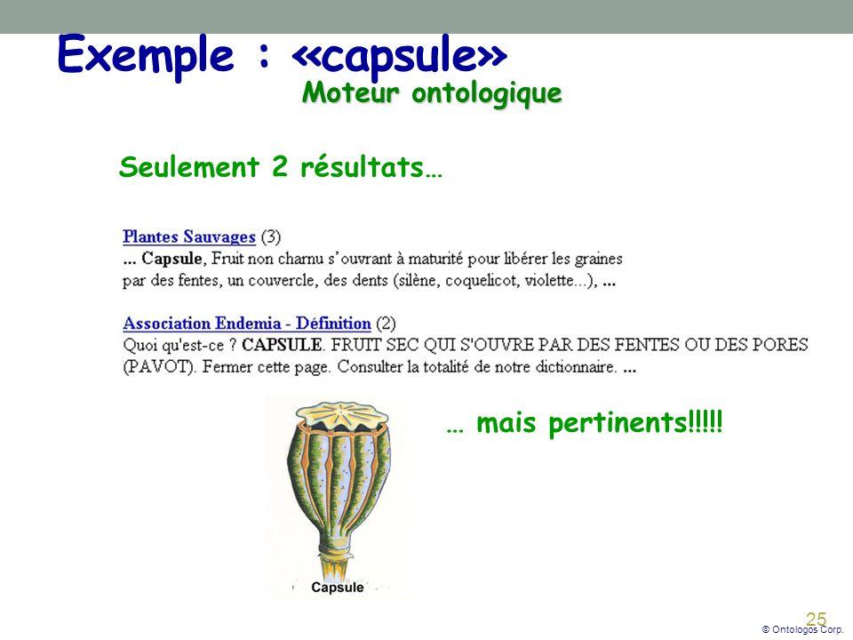 Exemple : «capsule» Moteur ontologique Seulement 2 résultats…
