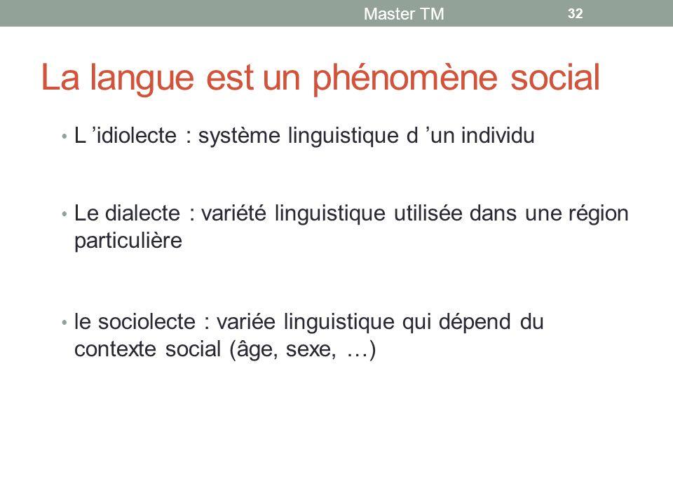 La langue est un phénomène social