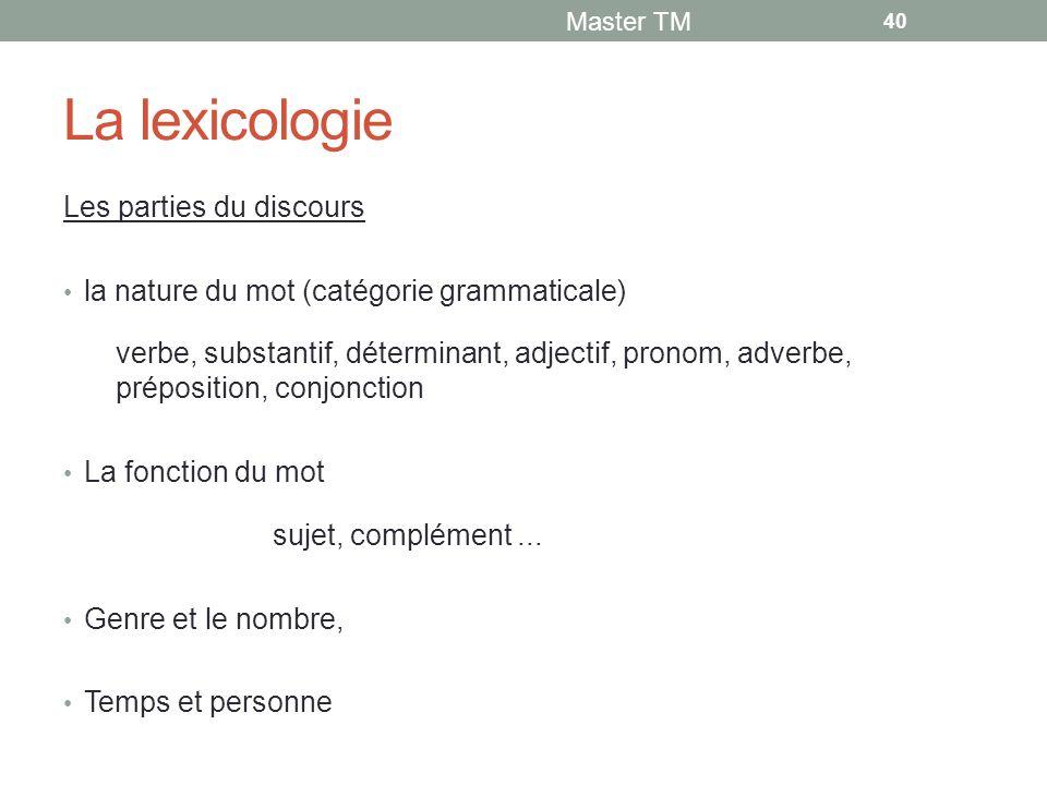 La lexicologie Les parties du discours