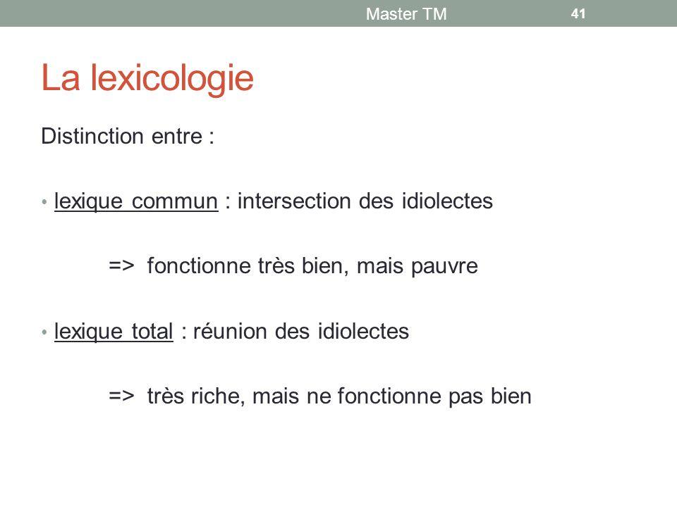 La lexicologie Distinction entre :
