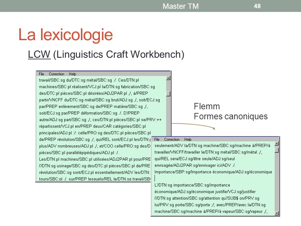 La lexicologie LCW (Linguistics Craft Workbench) Flemm