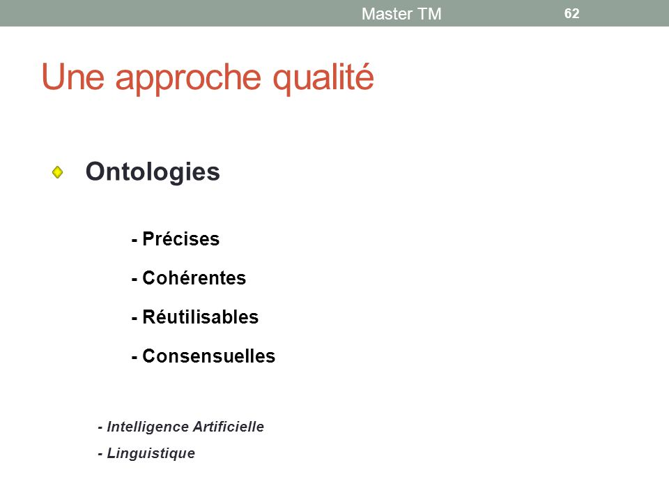 Une approche qualité Ontologies - Précises - Cohérentes