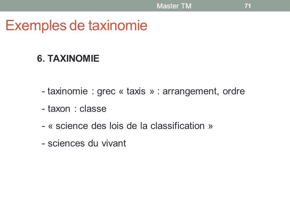 Exemples de taxinomie 6. TAXINOMIE