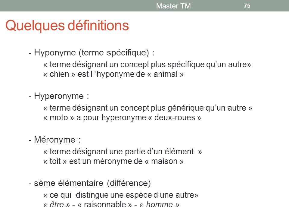 Quelques définitions - Hyponyme (terme spécifique) : - Hyperonyme :