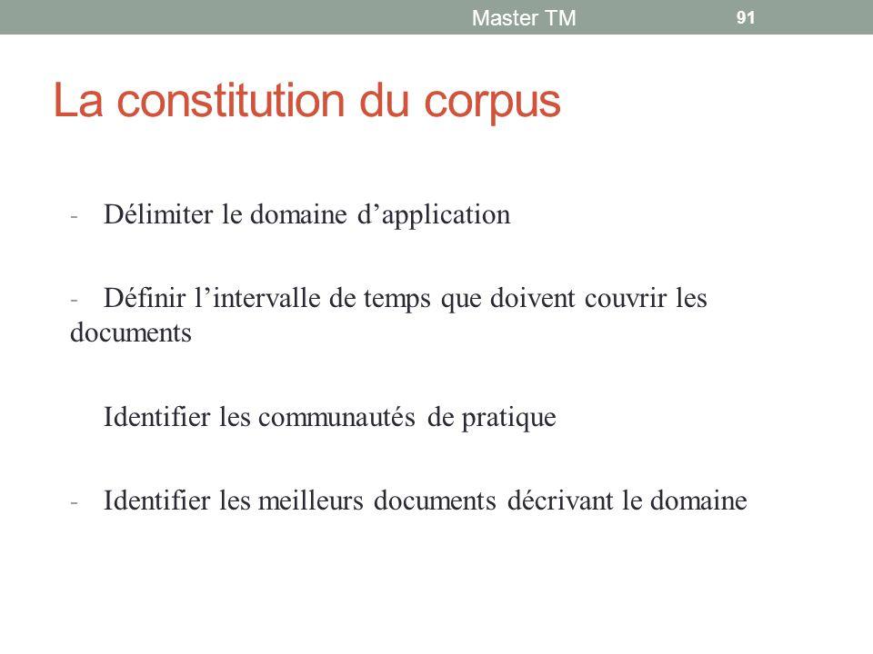 La constitution du corpus