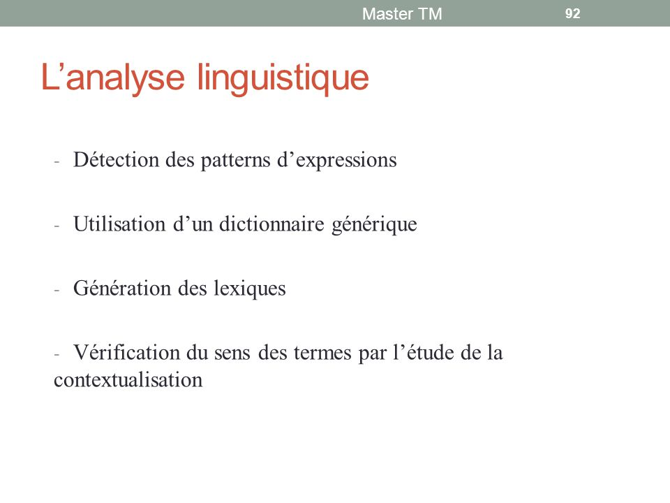 L'analyse linguistique