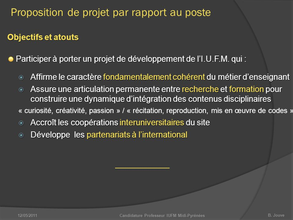 Candidature Professeur IUFM Midi-Pyrénées