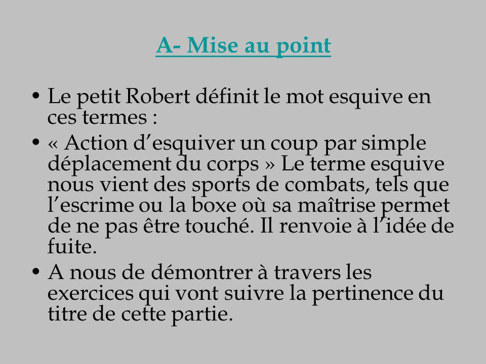 A- Mise au point Le petit Robert définit le mot esquive en ces termes :