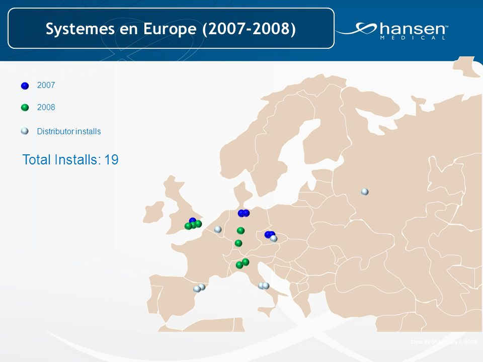 Systemes en Europe (2007-2008) Total Installs: 19 2007 2008