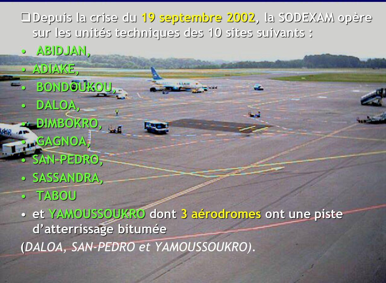 Depuis la crise du 19 septembre 2002, la SODEXAM opère sur les unités techniques des 10 sites suivants :