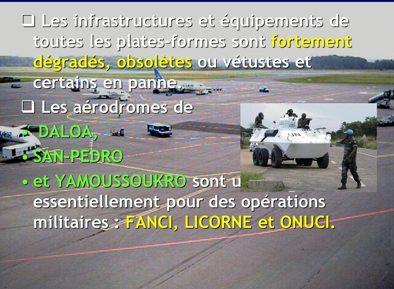 Les infrastructures et équipements de toutes les plates-formes sont fortement dégradés, obsolètes ou vétustes et certains en panne.