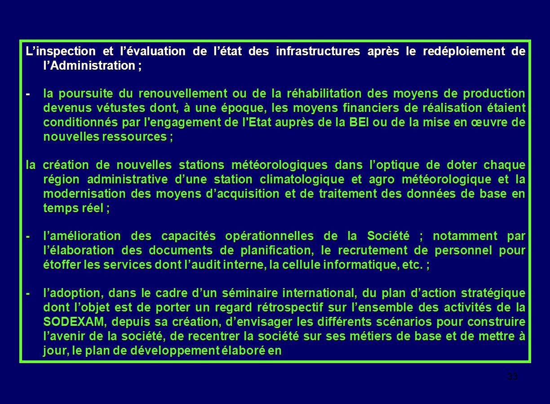 L'inspection et l'évaluation de l'état des infrastructures après le redéploiement de l'Administration ;