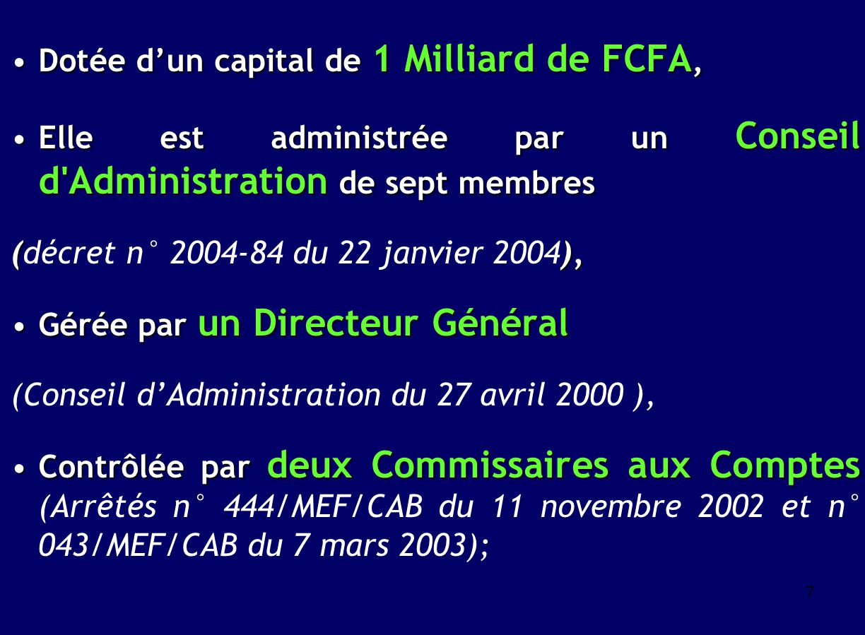 Dotée d'un capital de 1 Milliard de FCFA,