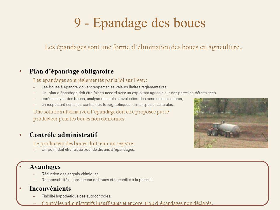 Les épandages sont une forme d'élimination des boues en agriculture.
