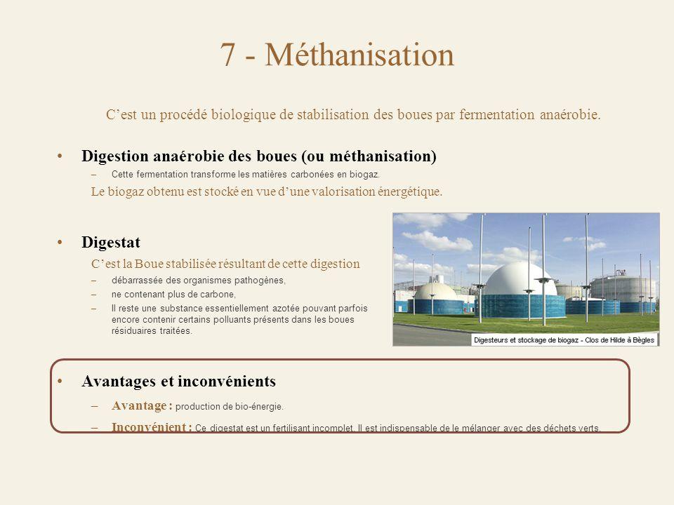 7 - Méthanisation Digestion anaérobie des boues (ou méthanisation)