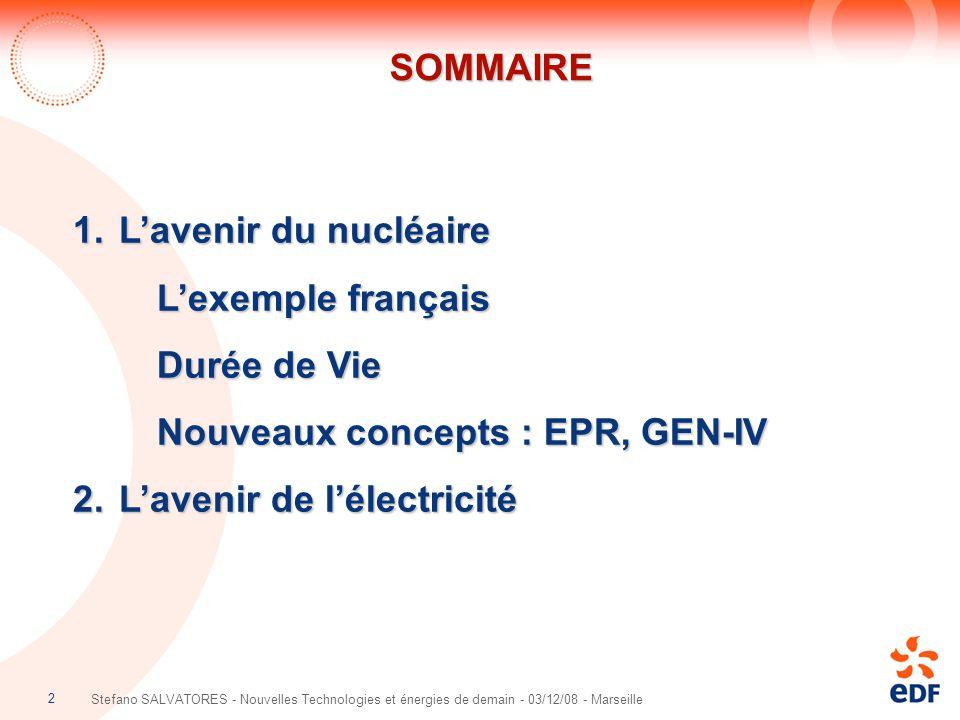 Nouveaux concepts : EPR, GEN-IV L'avenir de l'électricité