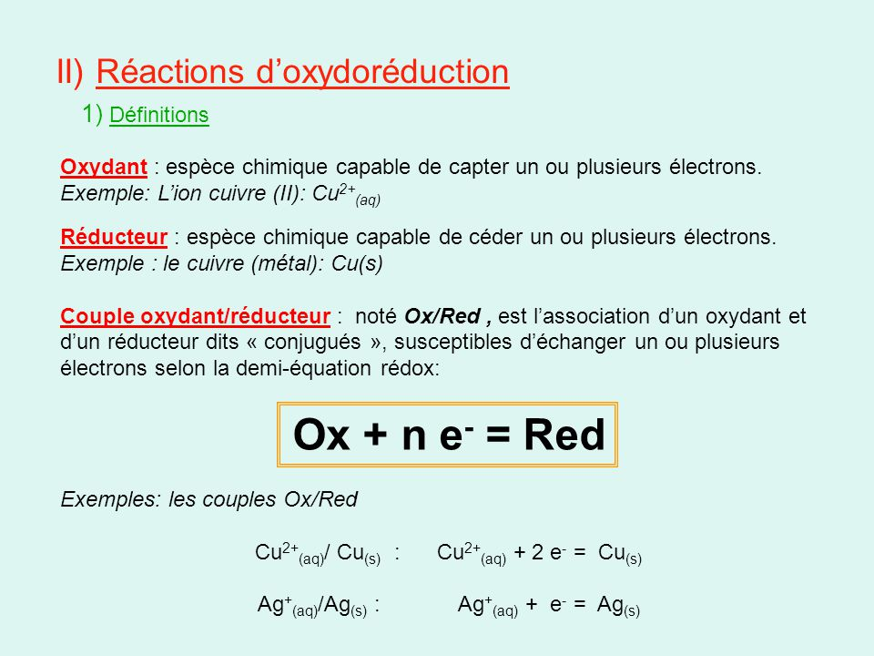 Ox + n e- = Red II) Réactions d'oxydoréduction 1) Définitions