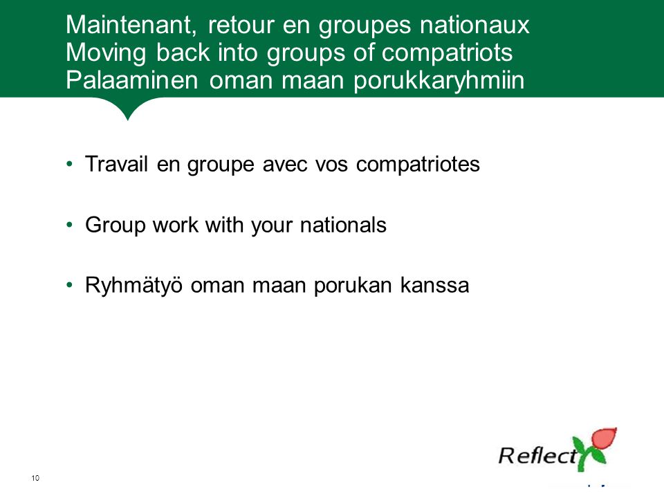 Maintenant, retour en groupes nationaux Moving back into groups of compatriots Palaaminen oman maan porukkaryhmiin