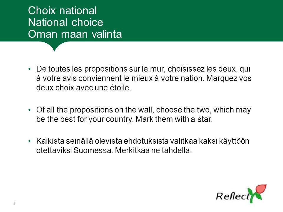 Choix national National choice Oman maan valinta
