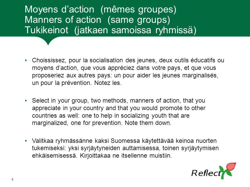 Moyens d'action (mêmes groupes) Manners of action (same groups) Tukikeinot (jatkaen samoissa ryhmissä)