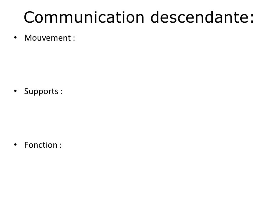 Communication descendante: