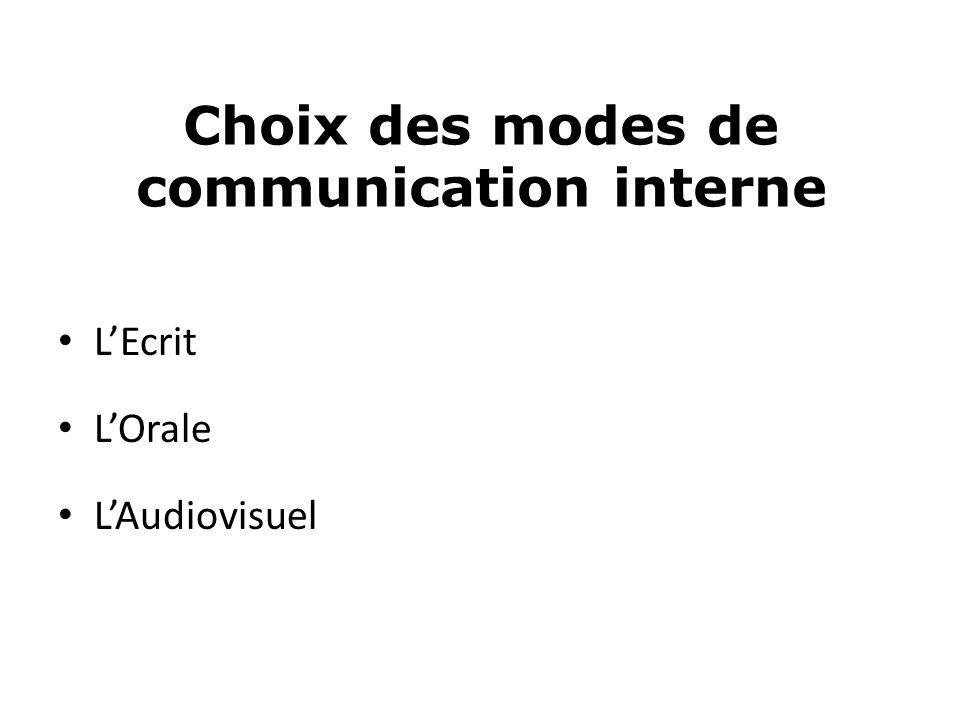 Choix des modes de communication interne