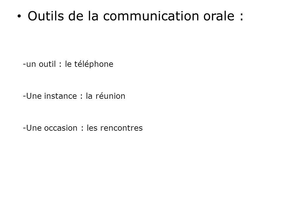 Outils de la communication orale :