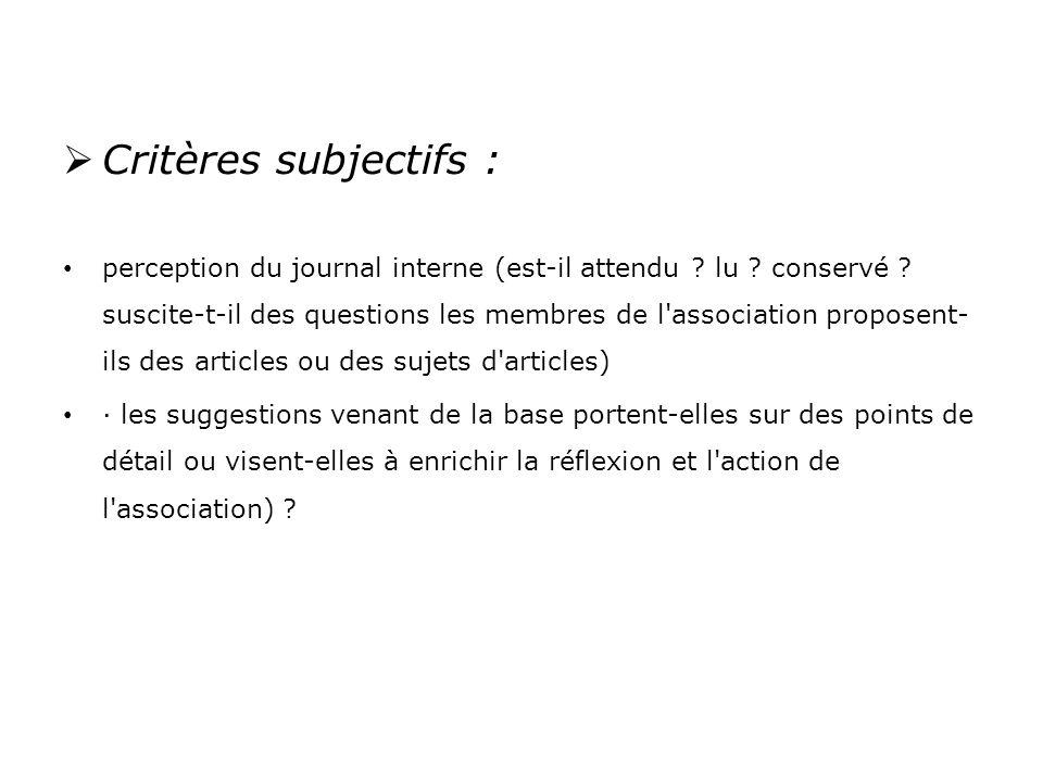 Critères subjectifs :