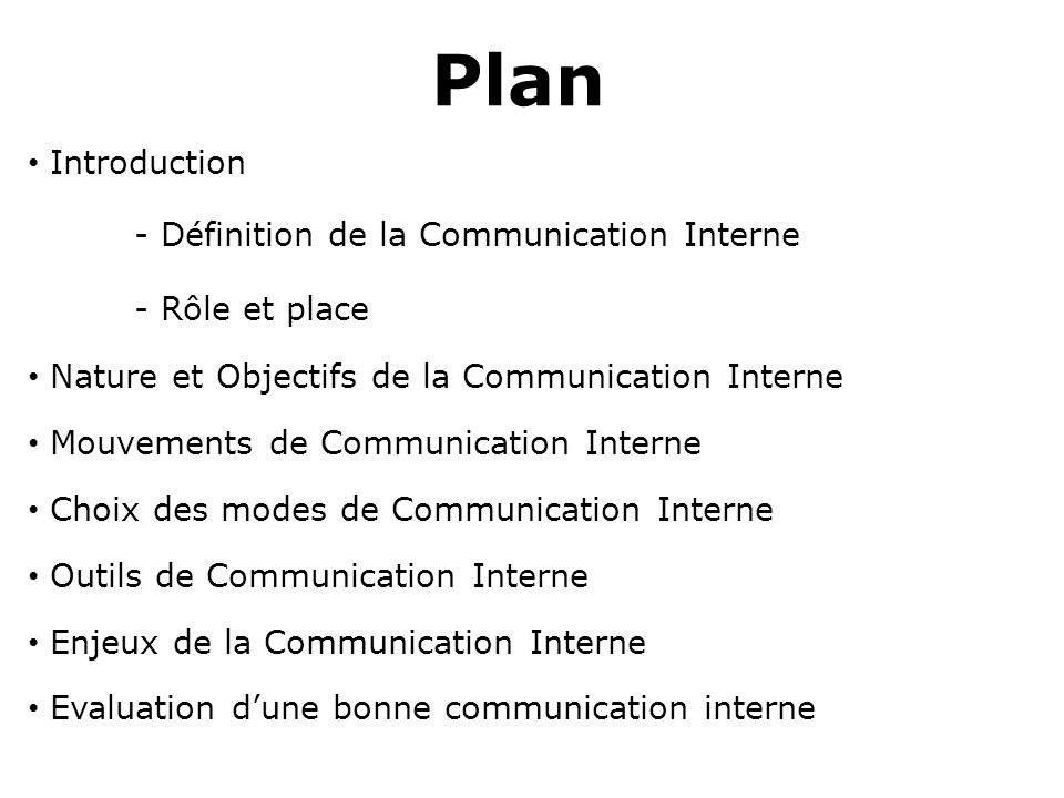 Plan Introduction - Définition de la Communication Interne
