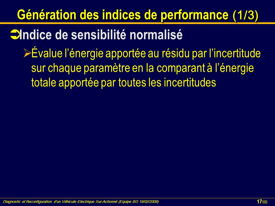Génération des indices de performance (1/3)
